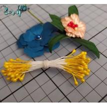 Тычинки для цветов средние Magic. Цвет жёлтый глянец. В связке 30 шт. (60 головок диаметром 3-3,5 мм)