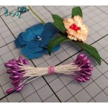 Тычинки для цветов средние Magic. Цвет фиолетовый глянец. В связке 30 шт. (60 головок диаметром 3-3,5 мм)