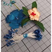 Тычинки для цветов средние Magic. Цвет синий глянец. В связке 30 шт. (60 головок диаметром 3-3,5 мм)