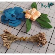 Тычинки для цветов средние Magic. Цвет коричневый матовый. В связке 50 шт. (100 головок диаметром 2 мм)
