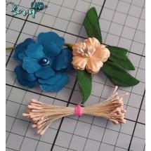 Тычинки для цветов средние Magic. Цвет бежевый матовый. В связке 50 шт. (100 головок диаметром 2 мм)