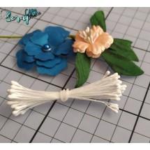 Тычинки для цветов средние Magic. Цвет белый матовый. В связке 50 шт. (100 головок диаметром 2 мм)