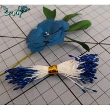 Тычинки для цветов средние Magic. Цвет синий глянец. В связке 50 шт. (100 головок диаметром 1,5-2 мм)