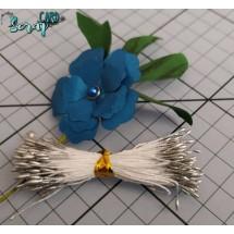 Тычинки для цветов средние Magic. Цвет серебряный глянец. В связке 50 шт. (100 головок диаметром 1,5-2 мм)
