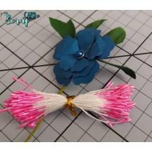 Тычинки для цветов средние Magic. Цвет розовый глянец. В связке 50 шт. (100 головок диаметром 1,5-2 мм)