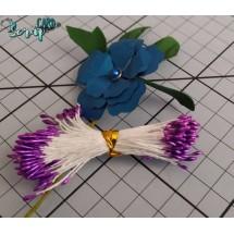 Тычинки для цветов средние Magic. Цвет фиолетовый глянец. В связке 50 шт. (100 головок диаметром 1,5-2 мм)