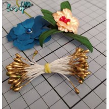 Тычинки для цветов средние Magic. Цвет золото глянец. В связке 30 шт. (60 головок диаметром 3-3,5 мм)