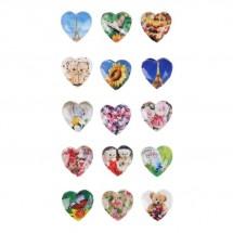 """Наклейка стразы пластик """"Сердце с картинкой внутри""""  19,5 х 8,5 см"""