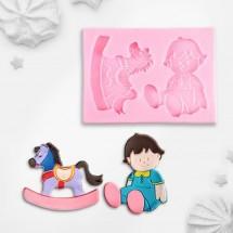 """Молд силиконовый """"Малыш и лошадка"""", 9,5 х 7,0 см"""