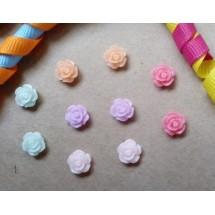 """Декоративные элементы """"Роза"""".  Диаметр - 8-9 мм. Цвет MIX. В комплекте 10 штук."""